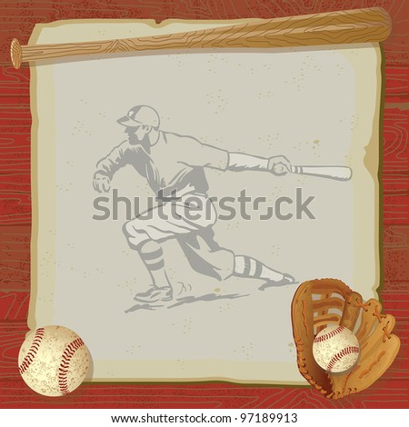 Rustic, vintage baseball party with old fashioned baseball, glove and bat on top of grungy vintage paper with a red woodgrain background. Old school baseball player swinging his bat is faded. - stock photo