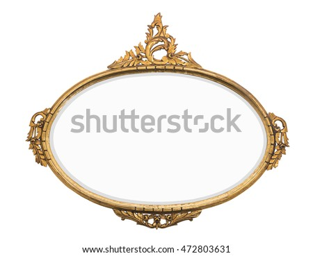 rustic vintage gold mirror isolated