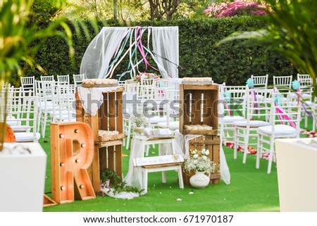 Rustic wedding outdoor photo zone hand stock photo royalty free rustic wedding outdoor photo zone hand made wedding decorations includes two big letters m and junglespirit Choice Image