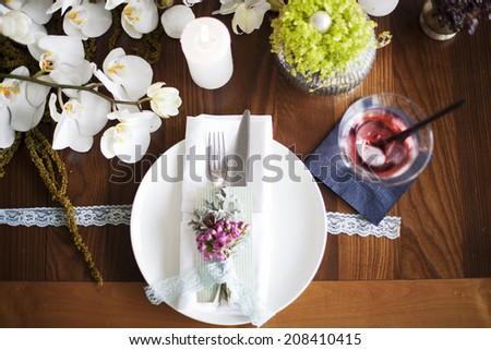 Rustic wedding table decoration.  - stock photo
