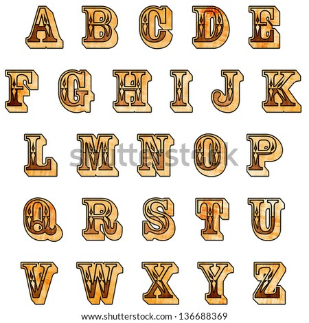 Rustic Western Alphabet with clipping path - stock photo