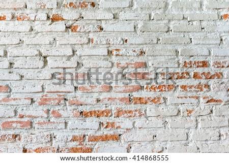 Rustic white brick wall - stock photo