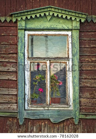 Rustic window, house, village, Russia