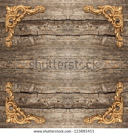 rustic wooden background with golden corner. vintage framework - stock photo