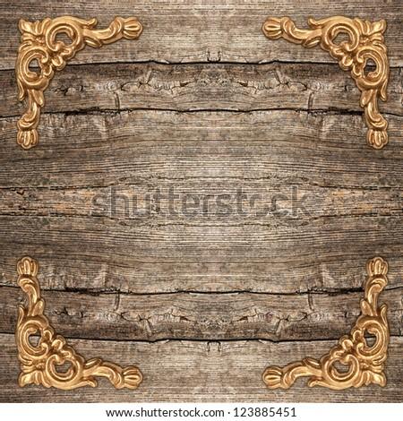 rustic wooden background with golden corner. vintage framework - stock photo