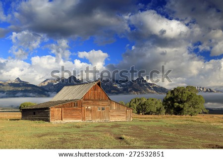 Rustic wooden barn, Wyoming, USA. - stock photo