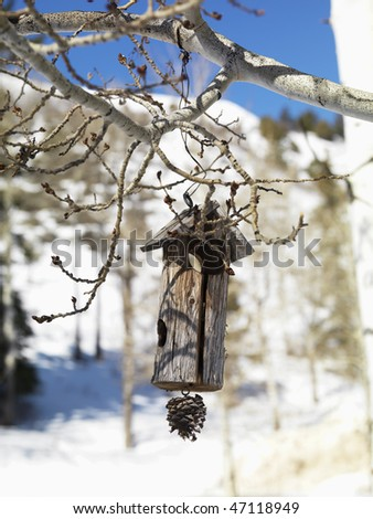 Rustic wooden birdhouse hanging from a tree branch with a snowy landscape in background. Vertical shot. - stock photo