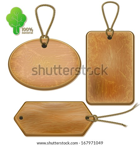Rustic wooden labels on ropes, isolated set on white background. Raster copy