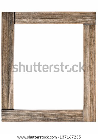 Rustic wooden photo frame - isolated on white background - stock photo