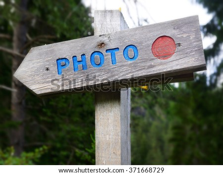 Rustic wooden sign - Photo. - stock photo