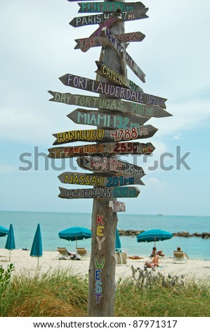 rustic wooden signpost to destinations on beach at Fort Zachary, Key West - stock photo