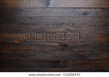 Rustic wooden table background top view - stock photo