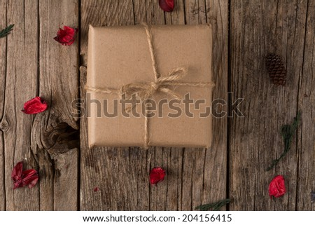 Rustically wrapped Christmas gift  with twine
