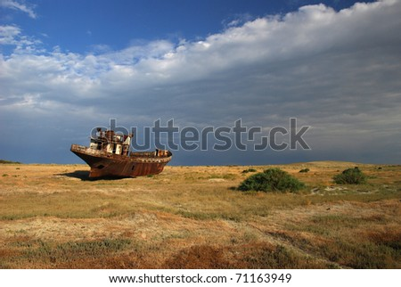 rustig ship in aral desert / lake , Kazakhstan - stock photo