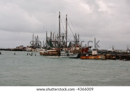 Rusting ships in Cancoon Mexico