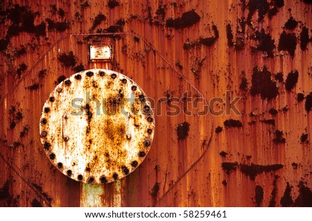 Rusting Silo Hatch with bolts - stock photo