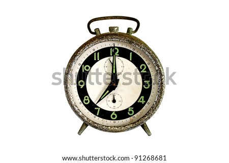 Rusty alarm clock isolated on white - Good Old Time - stock photo