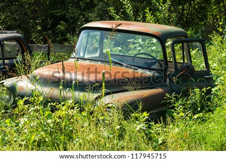 Rusty American truck hidden by the nature. Time is passing concept. - stock photo