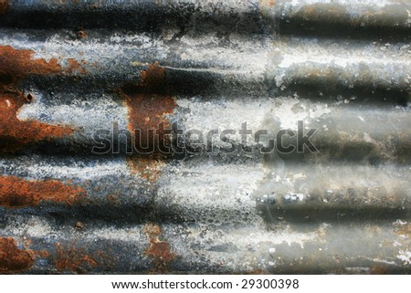 Rusty and Burned Corrigated Iron - stock photo