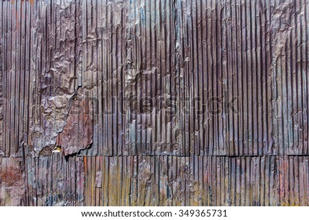 Rusty and weathered corrugated metal texture pattern - stock photo
