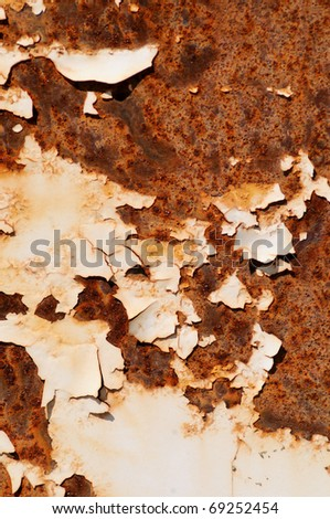 Rusty background        A rusty old metal plate with cracked white gloss paint - stock photo