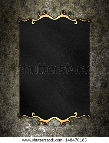 Rusty background with black nameplate for writing and gold trim