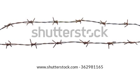Rusty barbed wire isolated on white background. International Day of Commemoration in Memory of the Victims of the Holocaust concept. - stock photo