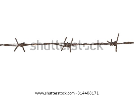 Rusty barbed wire on white background