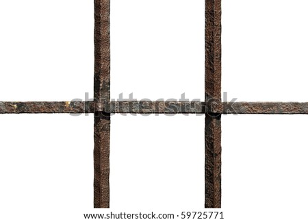 Rusty bars against white. Clipping path included. - stock photo