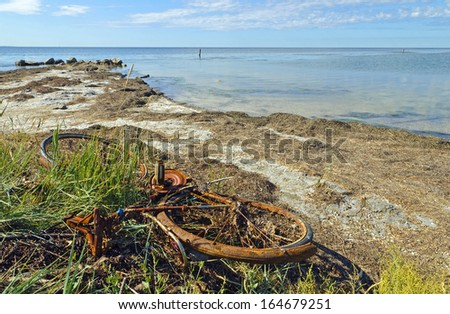 Rusty bicycle on the sea shore - stock photo