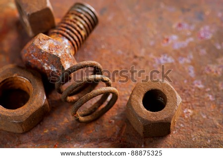 Rusty bolts and steel nuts