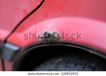 rusty car close up - stock photo