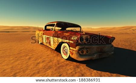Rusty car in the desert. - stock photo