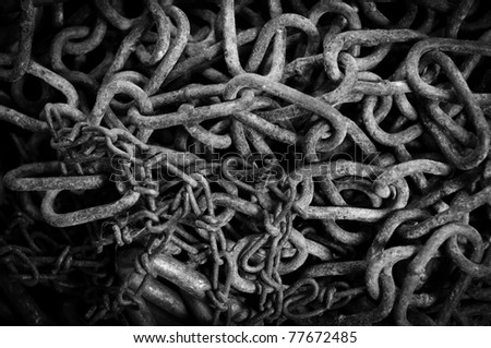 Rusty chain texture in black and white - stock photo
