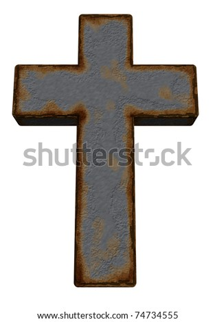 rusty christian cross on white background - 3d illustration - stock photo
