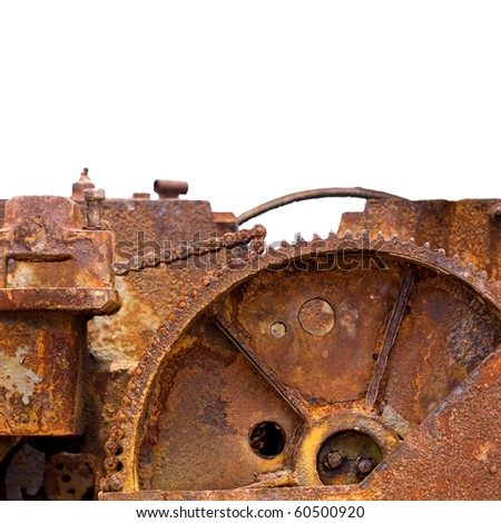 Rusty Cog from an Engine on white