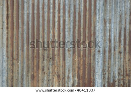 Rusty corrugated iron, Bangkok, Thailand. - stock photo