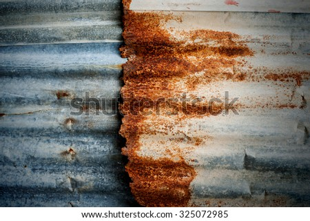 Rusty corrugated metal wall ,rusty Zinc grunge style background - stock photo