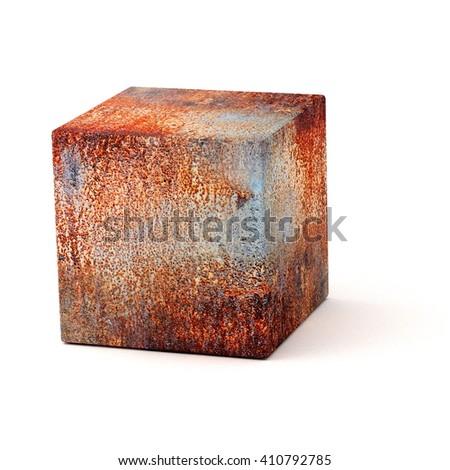 rusty cube - 3D illustration - stock photo