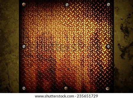 rusty diamond plate  - stock photo