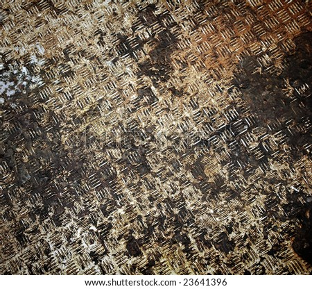 rusty diamond steel plate - stock photo