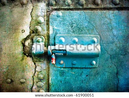 Rusty door with upright bolt - picture in retro style - stock photo