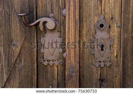 Rusty Escutcheon Plate On Old Wooden Door