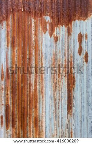 Rusty galvanized iron plate, texture, Background, Vintage effect - stock photo