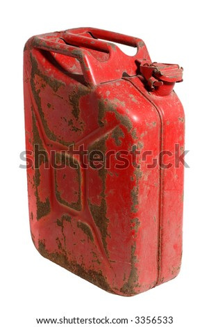 Rusty Gas Can isolated on white - stock photo