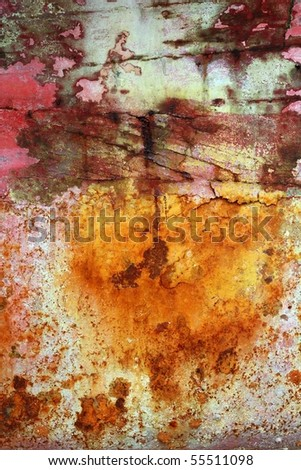 rusty grunge aged steel iron paint oxidized texture background - stock photo