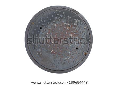 rusty grunge manhole cover isolated - stock photo