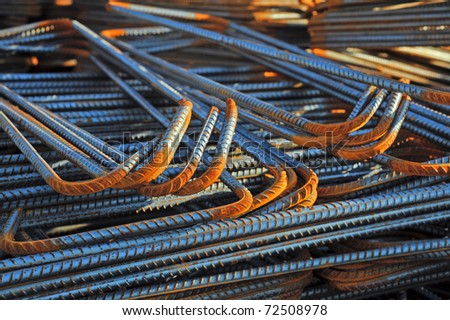 Rusty High Tensile Deformed Steel Bar - stock photo