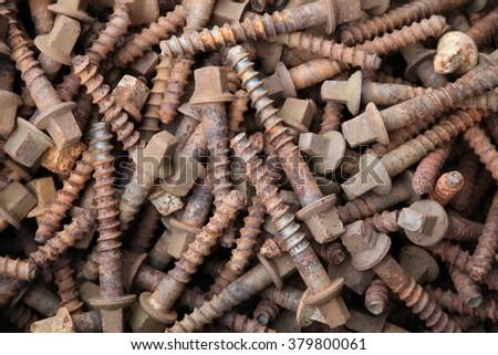 rusty iron nails - stock photo