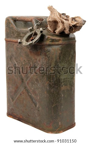 rusty jerrycan and jute cloth - stock photo